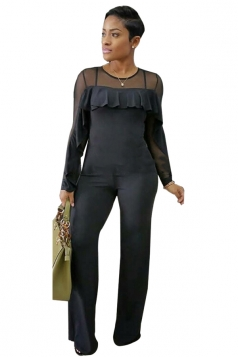 Womens Sexy Sheer Ruffle Shoulder Wide Leg Plain Jumpsuit Black