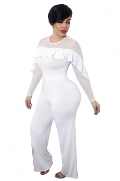 Womens Sexy Sheer Ruffle Shoulder Wide Leg Plain Jumpsuit White