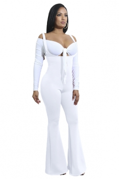 Womens High Waisted Strap Bell Pants Overalls Plain Jumpsuit White