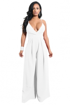 Womens Sexy Wide Leg V Neck Backless Spaghetti Strap Jumpsuit White