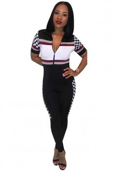 Womens V Neck Zipper Short Sleeve Color Block Fitting Jumpsuit Black