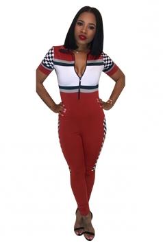 Womens V Neck Zipper Turndown Collar Short Sleeve Fitting Jumpsuit Red