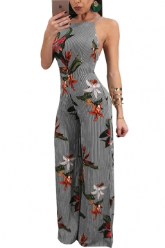 Womens Sexy Sleeveless Backless Wide Legs Printed Slip Jumpsuit Black