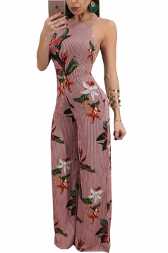 Womens Backless Wide Legs Side Zipper Floral Printed Slip Jumpsuit Red