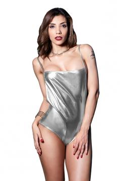 Womens Sexy Spaghetti Strap Backless Liquid Metallic Bodysuit Silver