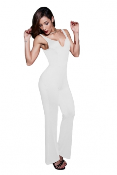 Womens Sexy Embroidered Backless V Neck Sleeveless Jumpsuit White