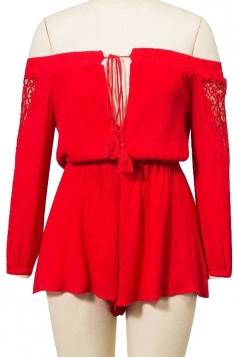 Womens Sexy Off Shoulder Cut Out Lace Up Long Sleeve Romper Red
