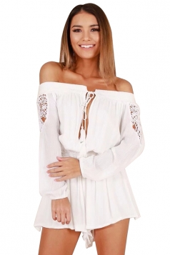 Womens Sexy Off Shoulder Cut Out Lace Up Long Sleeve Romper White