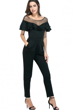 Womens Sexy Sheer Ruffle Shoulder Short Sleeve Pocket Jumpsuit Black
