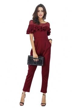 Womens Sexy Sheer Ruffle Shoulder Short Sleeve Pocket Jumpsuit Ruby