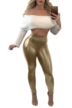 Womens Close-Fitting High Waisted Plain Liquid Leather Leggings Gold