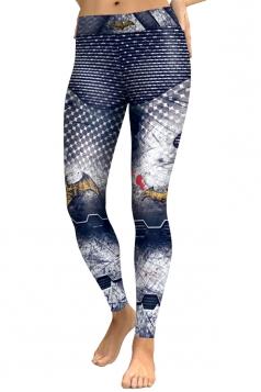 Womens High Waist Ankle Length Sports Printed Leggings Light Gray