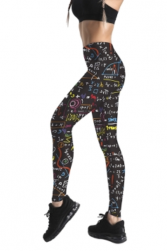 Womens Stretchy Skinny High Waisted Mathematics Printed Leggings