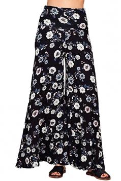 Womens Vintage Wide Leg Flower Printed Pocket Leisure Pants Black