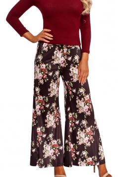 Womens Vintage Wide Leg Flower Printed Pocket Leisure Pants Green