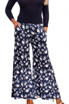 Womens Vintage Wide Leg Flower Printed Pocket Leisure Pants Navy Blue