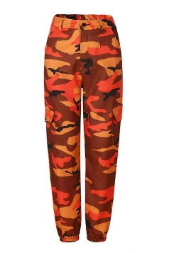Womens Oversized Button Pocket Camouflage Pants Orange