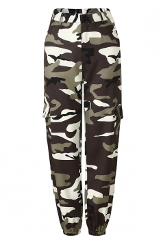 Womens Oversized Button Pocket Camouflage Pants Gray