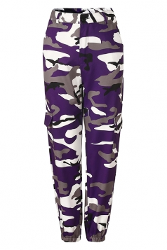 Womens Oversized Button Pocket Camouflage Pants Purple
