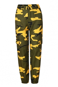 Womens Oversized Button Pocket Camouflage Pants Yellow