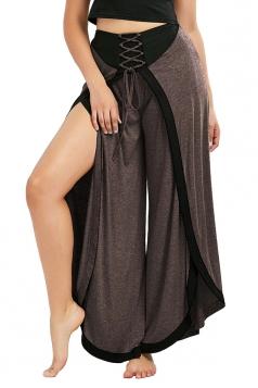 Womens Stylish Cross Lace Up Wide Legs Slit Loose Leisure Pants Coffee