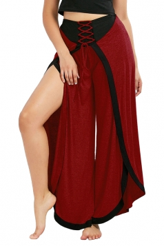 Womens Stylish High Waist Wide Legs Slit Plain Leisure Pants Dark Red