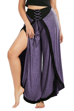 Womens Sexy High Waist Wide Legs Slit Loose Plain Leisure Pants Purple