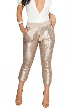 Womens Casual Sequin Drawstring Pocket High Waisted Capri Pants Gold