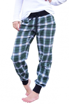 Womens High Waist Plaid Color Block Sports Loose Leisure Pants Green