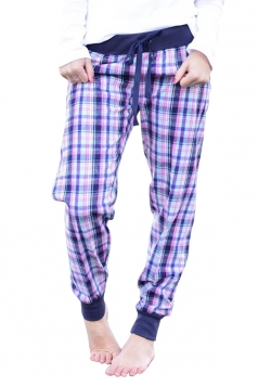 Womens Elastic High Waist Plaid Color Block Loose Leisure Pants Purple