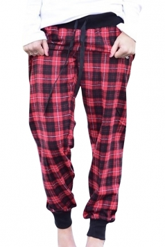 Womens Elastic Casual High Waist Plaid Sports Loose Leisure Pants Red