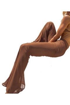Womens Sexy Sheer High Waisted Plain Bell Pants Brown