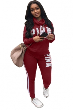 Womens Casual Long Sleeve Sweatshirt Letter Printed Sports Suit Ruby
