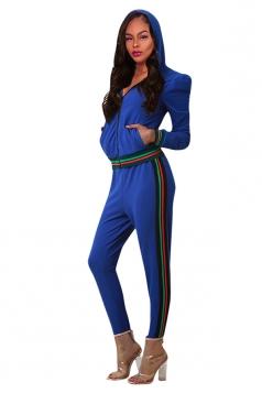Womens Long Sleeve Zipper Hoodie&High Waist Leggings Plain Suit Blue