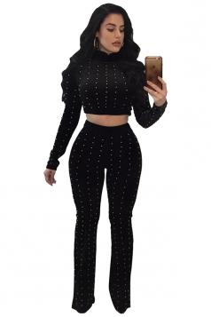 Womens Long Sleeve Crop Top&Bell Bottoms Pants Beaded Plain Suit Black