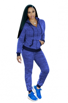 Womens Long Sleeve Zipper Hoodie With Pocket Plain Sports Suit Blue