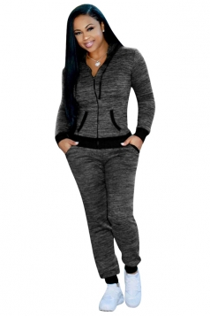 Womens Long Sleeve Zipper Hoodie With Pocket Plain Sports Suit Gray