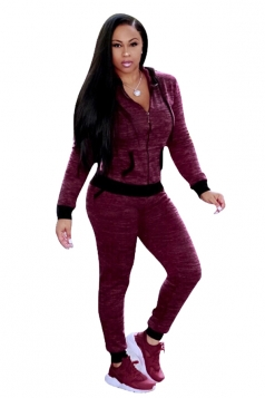 Womens Long Sleeve Zipper Hoodie With Pocket Plain Sports Suit Ruby