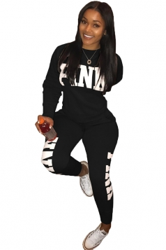 Womens Casual Long Sleeve Sweatshirt Letter Printed Sports Suit Black