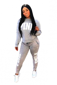 Womens Casual Crew Neck Sweatshirt Letter Printed Sports Suit Gray
