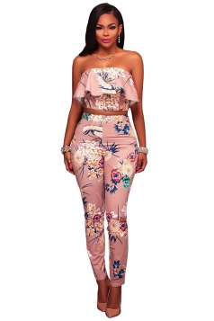 Womens Ruffle Crop Top&High Waist Pants Floral Printed Suit Light Pink