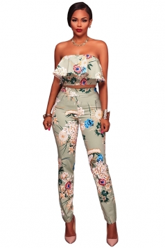 Womens Off Shoulder Crop Top&High Waist Pants Printed Suit Light Green