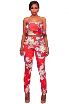 Womens Off Shoulder Crop Top&High Waist Pants Floral Printed Suit Red