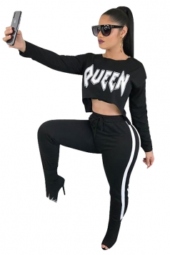 Womens Sexy Graphic Crop Top&Drawstring Striped Pants Suit White