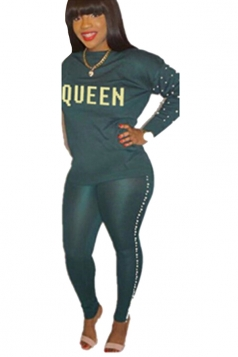 Womens Casual Graphic Long Sleeve Crew Neck Top&Pearl Pants Suit Green