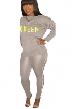 Womens Casual Graphic Long Sleeve Crew Neck Top&Pearl Pants Suit Gray