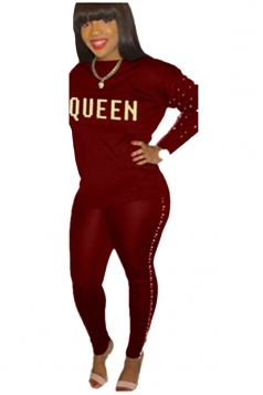 Womens Casual Graphic Long Sleeve Crew Neck Top&Pearl Pants Suit Ruby