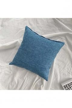 Homey Cozy Cotton Linen Plain Throw Pillow Cover Blue 18x18in