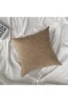 Homey Cozy Cotton Linen Plain Throw Pillow Cover Brown 18x18in