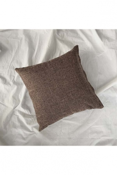 Homey Cozy Cotton Linen Plain Throw Pillow Cover Coffee 18x18in